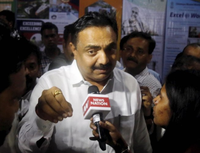 NCP MLA Jayant Patil speaks to media after a meeting with party MLA's in Mumbai. (PTI Photo)