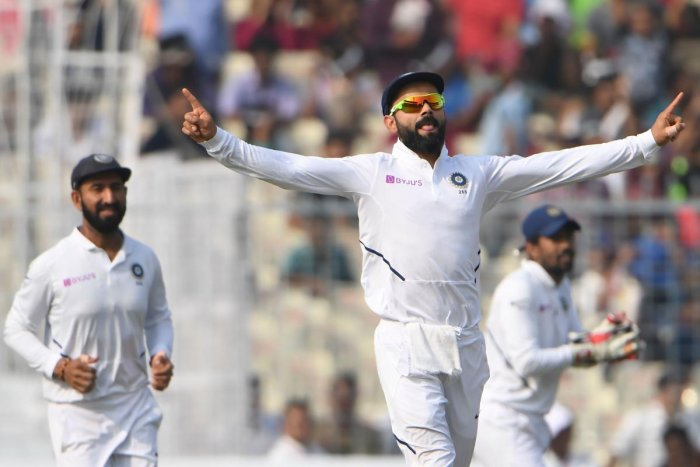 The Virat Kohli-led side eventually completed the job for in less than 50 minutes for their fourth straight innings victory, becoming the first team do so. (Photo by AFP)