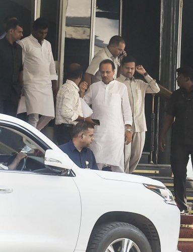 Maharashtra Deputy Chief Minister Ajit Pawar leaves from Vidhan Bhawan in Mumbai, Monday, Nov. 25, 2019. (PTI Photo)
