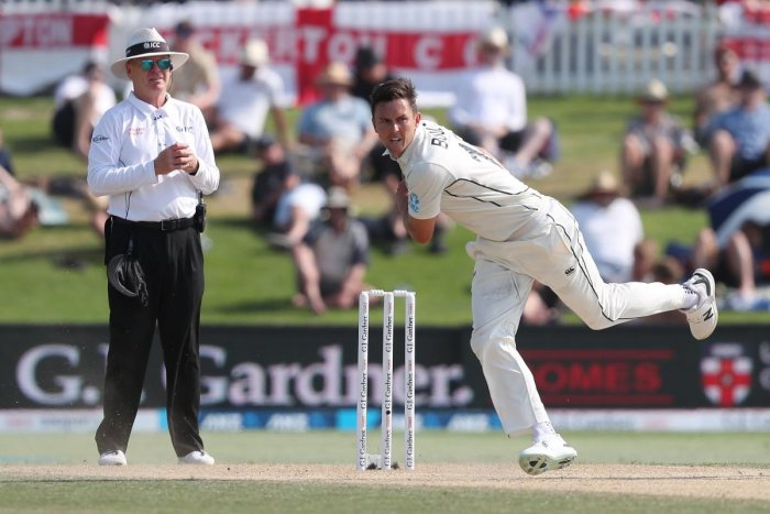 New Zealand's Trent Boult bowls during the forth day of the first cricket test between England and New Zealand at Bay Oval in Mount Maunganui. (AFP Photo)