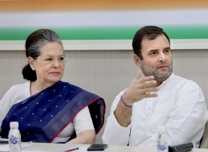 Congress president Sonia Gandhi and Rahul Gandhi. (PTI photo)