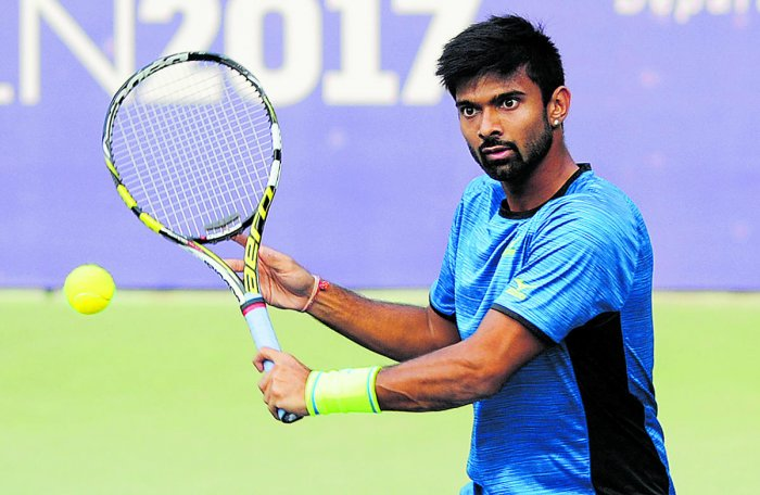 Indian Tennis Player Jeevan Nedunchezhiyan. Photo by DH photo