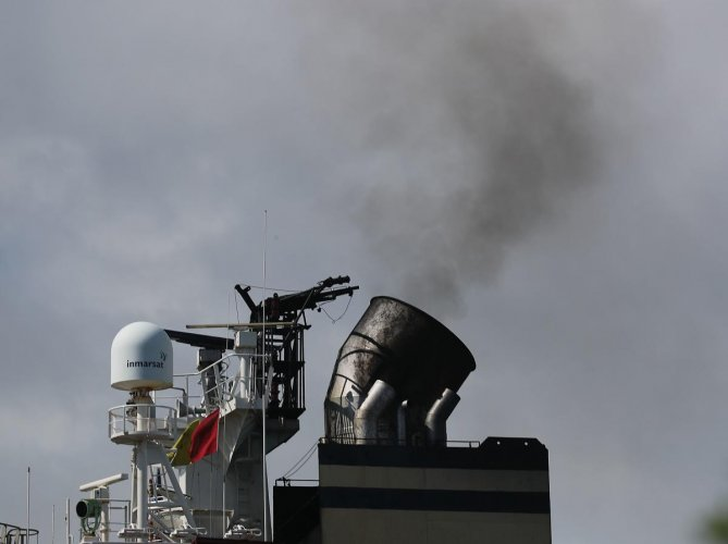 Smoke is seen pouring from the smokestack on a container ship. Trump administration officially withdraws from the Pairs Climate Agreement according to a 2017 EPA study the largest source of greenhouse gas emissions in the United States is from the transportation sector. (AFP Photo)