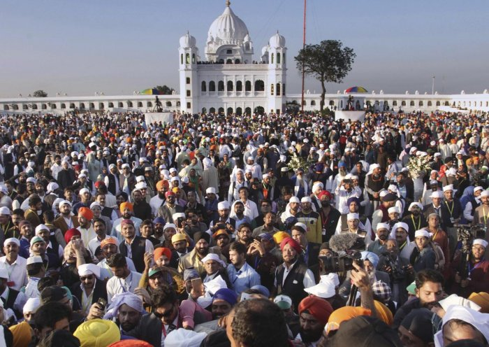 Kartarpur: Sikh pilgrims visit the shrine of their spiritual leader Guru Nanak Dev, at Gurdwara Darbar Sahib in Kartarpur, Pakistan. AP/PTI