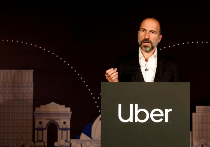 Uber CEO Dara Khosrowshahi speaks to the media at an event. Representative Image. (Reuters Photo)