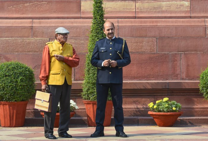 A marshal in the new uniform at Parliament during its ongoing Winter Session, in New Delhi, Tuesday, Nov 19, 2019. Earlier the 'Marshals' used to wear the 'bandhgalas' during the winter along with turbans. (PTI Photo)