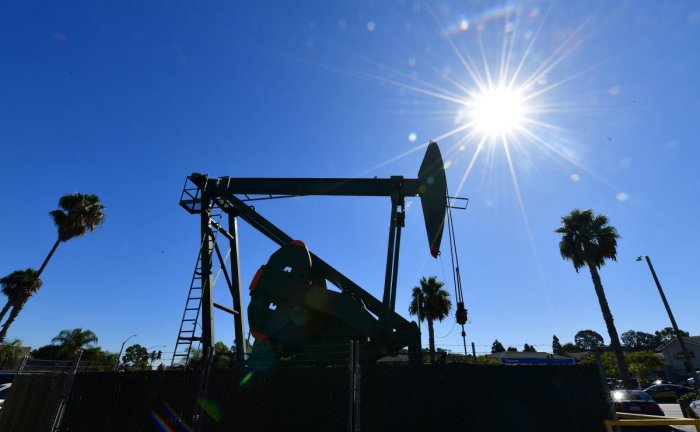 In this file photo taken on October 21, 2019, pumpjack from California-based energy company Signal Hill Petroleum is seen in Signal Hill, California. (AFP Photo)