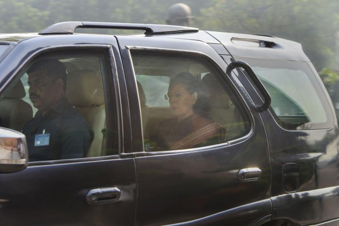 Congress President Sonia Gandhi arrives at Parliament House to attend the ongoing Winter Session, in New Delhi, Thursday, Nov. 21, 2019. (PTI Photo)
