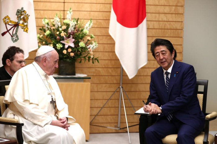 Pope Francis meets Japanese Prime Minister Shinzo Abe at the prime minister's official residence, also known as Sori Daijin Kantei, in Tokyo. Reiters
