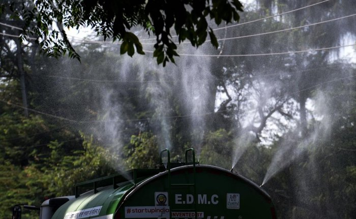 Water being sprayed from an 'anti-smog gun', a machine that sprays atomised water into the air to reduce pollution, at East Delhi. (PTI file photo)