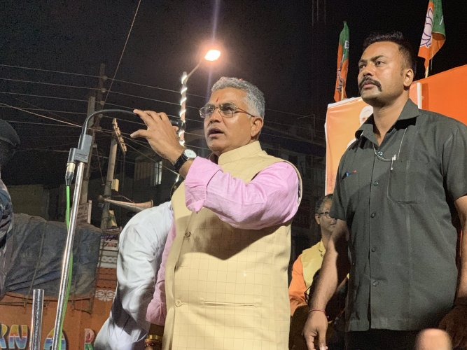 The public mood is totally in favour of the BJP, said West Bengal BJP President Dilip Ghosh. Photo/Twitter (@DilipGhoshBJP)
