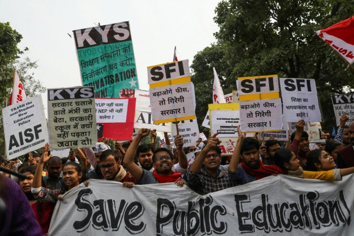 Students shout slogans as they march during a protest against a proposed fee hike in Jawaharlal Nehru University (JNU). REUTERS