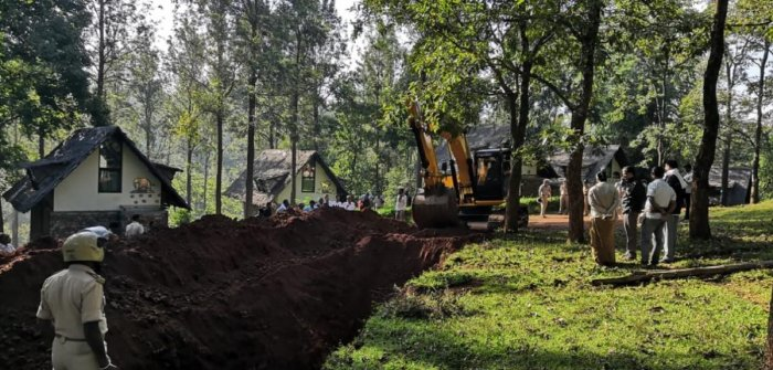 Trench dug up around the disputed land, at BR Hills, Yalandur, Chamarajanagar district.