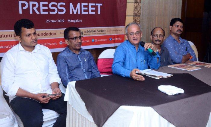 Capt Ganesh Karnik, one of the organisers of 'Mangaluru Lit Fest 2019', addresses reporters in Mangaluru on Monday.