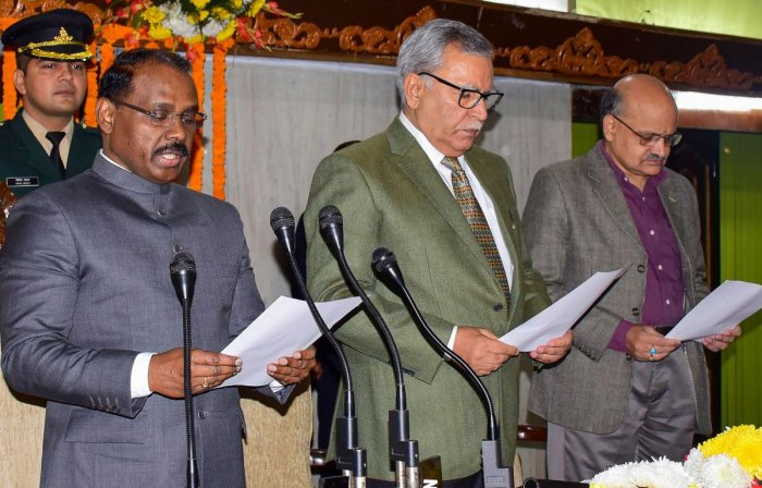 J & K Lt. Governor Girish Chandra Murmu reads out the 'Preamble' of the Constitution along with the officials during a celebration of Constitution Day at Assembly Complex in Jammu, Tuesday, Tuesday, Nov. 26, 2019. PTI