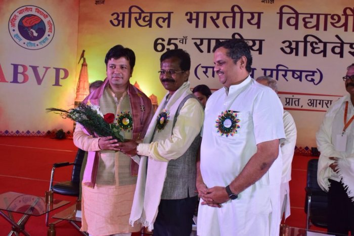Ashish Chauhan with Sunil Ambekar (Picture credit: @ABVPVoice Twitter handle)