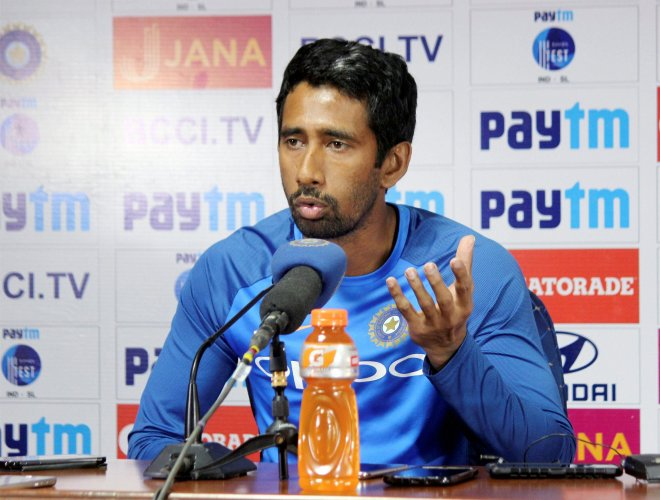 Indian wicket keeper Wriddhiman Saha addressing a press conference in Nagpur. (PTI Photo)