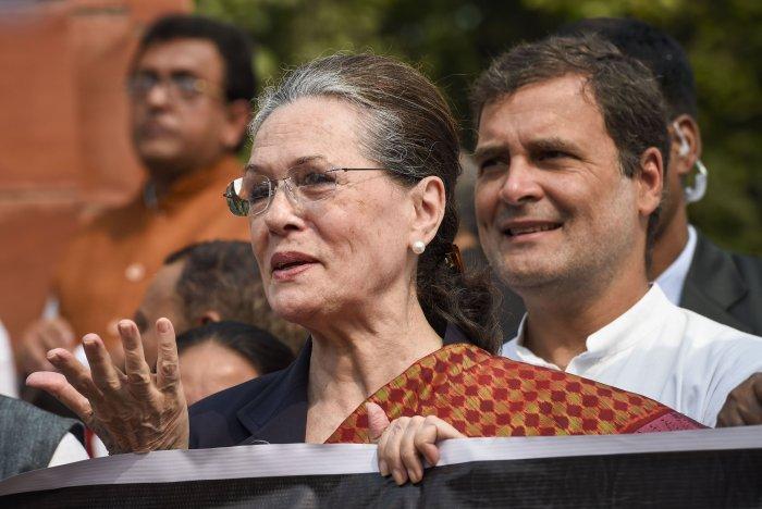 Congress President Sonia Gandhi and party leader Rahul Gandhi. (PTI Photo)