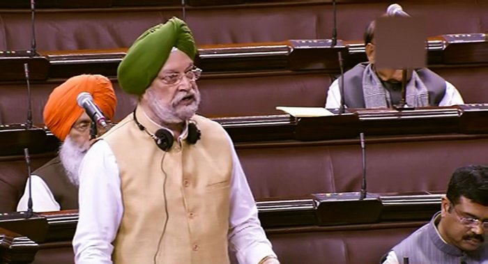 Union Housing and Urban Affairs Minister Hardeep Singh Puri speaks during the Winter Session of Parliament in New Delhi. (PTI Photo)