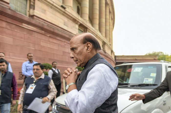 Union Defence Minister Rajnath Singh arrives for the Winter Session of Parliament, in New Delhi, Wednesday, Nov. 27, 2019. (PTI Photo/Vijay Verma)