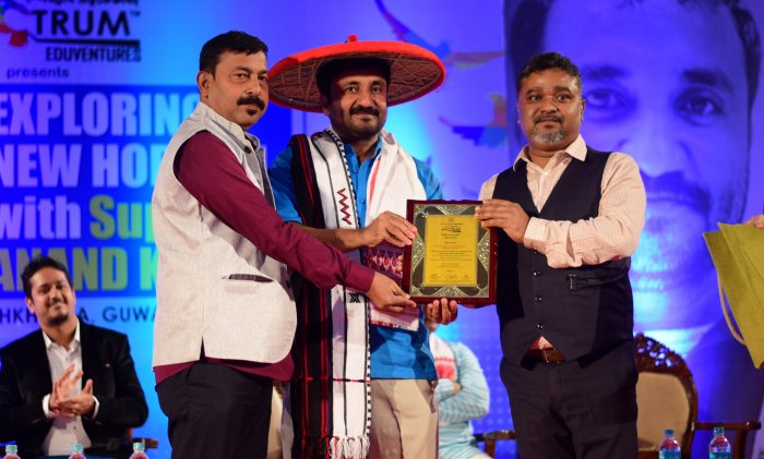 Anand Kumar, founder of Super 30 being felicitated in Guwahati recently. (File photo)