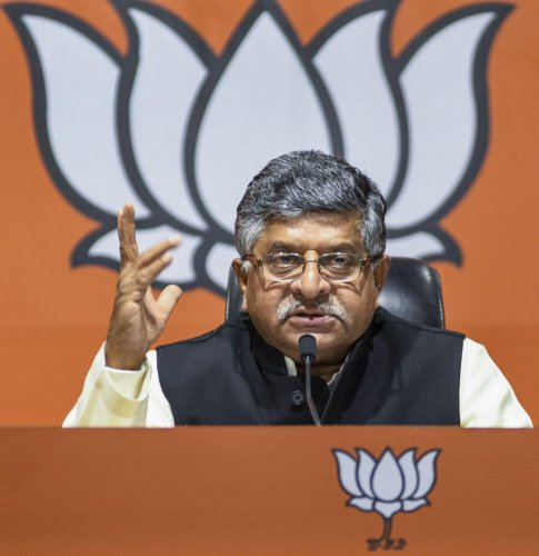 """The Union Law & Justice and IT Minister said the BJP got 105 seats in Maharashtra and they (Shiv Sena) won on """"our shoulders"""". Photo/PTI"""