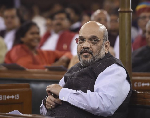 Union Home Minister Amit Shah during commemoration of 'Samvidhan Divas' in the Central Hall of Parliament in New Delhi, Tuesday, Nov. 26, 2019. (PTI Photo/Shahbaz Khan) (PTI11_26_2019_000157A)