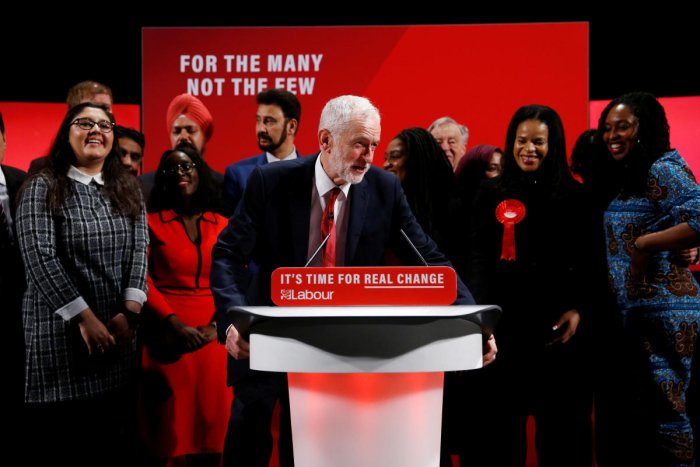 Britain's opposition Labour Party leader Jeremy Corbyn poses with fellow politicians at the Bernie Grant Arts Centre in London, Britain. (Reuters Photo)