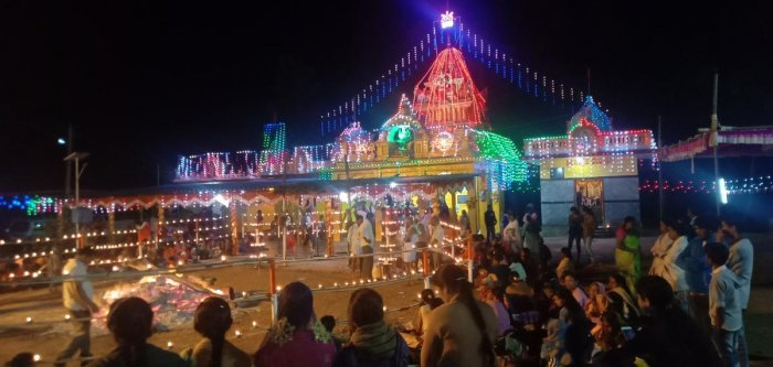 The temple dedicated to Gramadevathe Sri Banashankari Devi was decked up with lights, on the occasion of the annual fair of the temple, in Hebbale village on Tuesday night.