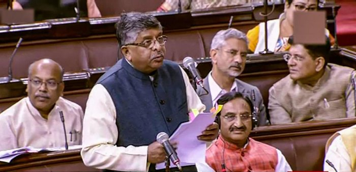 Union Minister Ravi Shankar Prasad speaks in the Rajya Sabha during the Winter Session of Parliament, in New Delhi