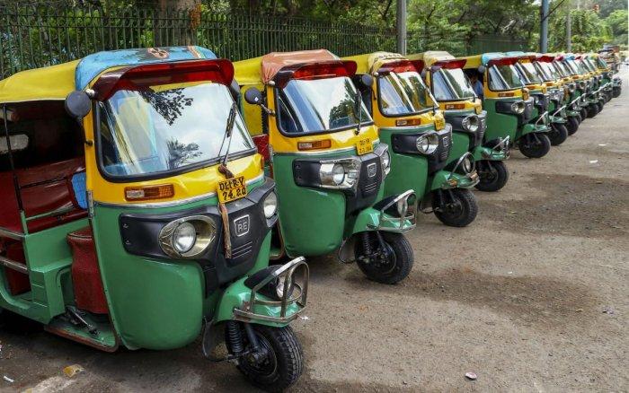 Auto rickshaws parked in the Ajmeri Gate area. PTI photo
