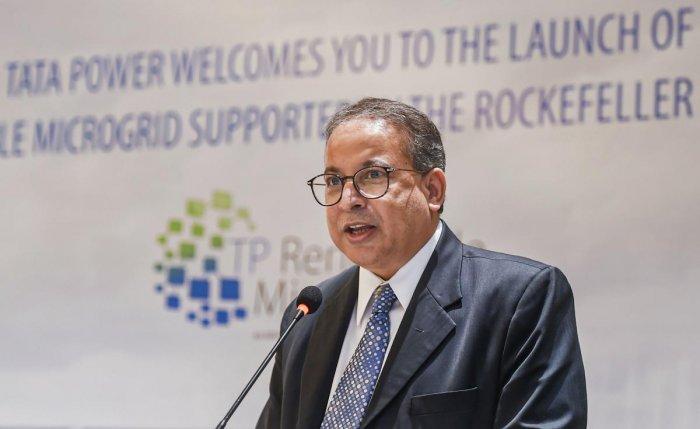 Tata Power CEO & Managing Director Praveer Sinha addresses the media. PTI Photo