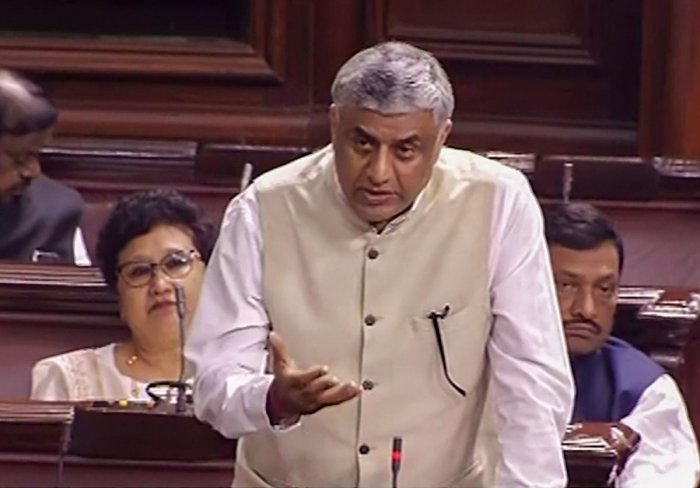 Congress MP MV Rajeev Gowda speaks in the Rajya Sabha during the ongoing Winter Session of Parliament, in New Delhi, Thursday, Nov. 21, 2019. (PTI Photo)