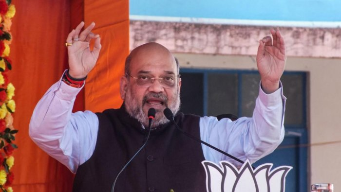 Union Home Minister Amit Shah addresses an election campaign ahead of Jharkhand Assembly Elections, in Manika area of Latehar district, Thursday, Nov. 21, 2019. (PTI Photo)