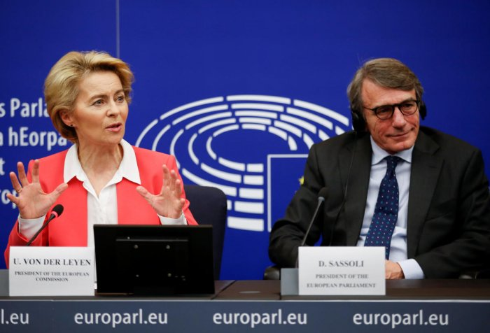 European Commission President Ursula von der Leyen and European Parliament President David Sassoli attend a news conference after the vote of Members of the EU Parliament on her college of commissioners, in Strasbourg, France. Photo by REUTERS