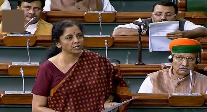 Union Finance Minister Nirmala Sitharaman speaks in the Lok Sabha during the Winter Session of Parliament. Representative Image. PTI Photo