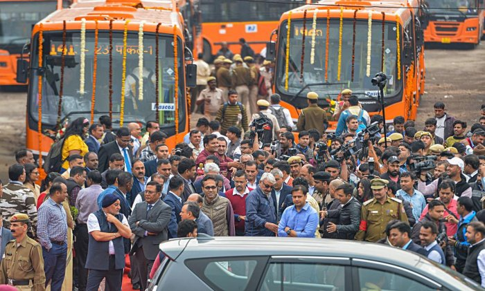 Delhi Chief Minister Arvind Kejriwal after the flag-off ceremony of new ultra-modern DTC buses, at Rajghat Depot, New Delhi. PTI