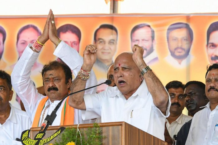 One of the cases filed is against Chief Minister B S Yediyurappa for allegedly seeking votes in the name of Veerashaiva community at Kagwad and Gokak constituencies on Saturday. Photo/PTI