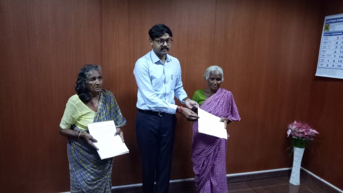 After their plight made headlines in local channels and social media resonated with requests to help them, Tiruppur district collector Dr. K Vijayakarthikeyan called them to his office on Friday and handed over orders allotting them monthly pension and free medical treatment.