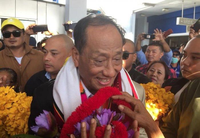 Rajkumar Meghen outside Imphal airport on Thursday. (DH photo)
