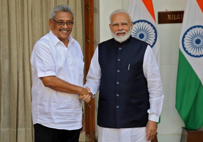 Sri Lanka's President Gotabaya Rajapaksa and India's Prime Minister Narendra Modi. (Reuters photo)