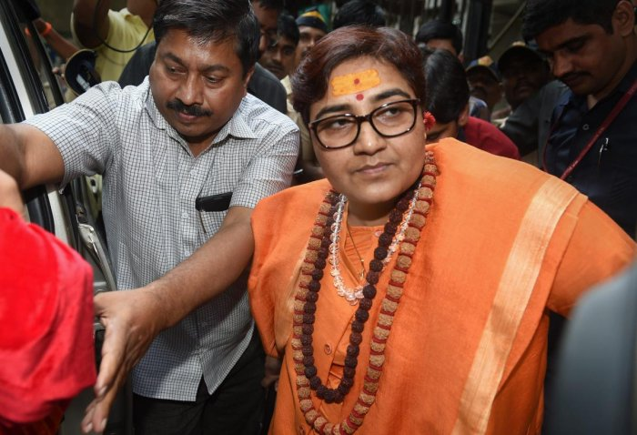 An MLA of ruling Congress in Madhya Pradesh has threatened to burn alive BJP Lok Sabha MP Pragya Singh Thakur, facing flak for her remarks on Mahatma Gandhi's assassin Nathuram Godse, if she entered his constituency. Photo/PTI