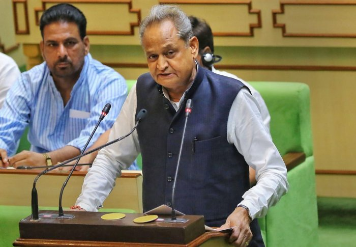Rajasthan Chief Minister Ashok Gehlot presents the state budget 2019-20, at Rajasthan assembly, in Jaipur, Wednesday, July 10, 2019. (PTI Photo)