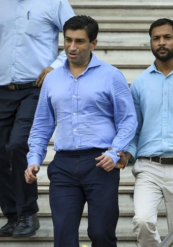 Madhya Pradesh Chief Minister Kamal Nath's nephew Ratul Puri leaves Enforcement Directorate office after being arrested in connection with a Rs 354 crore bank loan fraud case. (PTI Photo)