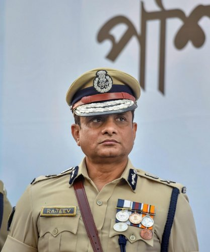 In this file photo dated Feb 4, 2019, shows Police commissioner Rajeev Kumar during the Joint Investiture Ceremony of West Bengal Police and Kolkata Police, in Kolkata. The Calcutta High Court on Tuesday, Oct. 1, 2019, granted anticipatory bail to former Kolkata Police Commissioner Rajeev Kumar in the multi-crore Saradha chit fund scam case. (PTI Photo)