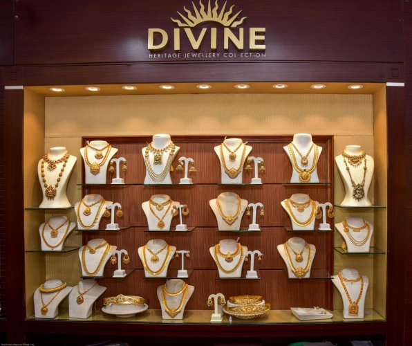 Jewellery at Malabar Gold & Jewels Showroom. DH photo