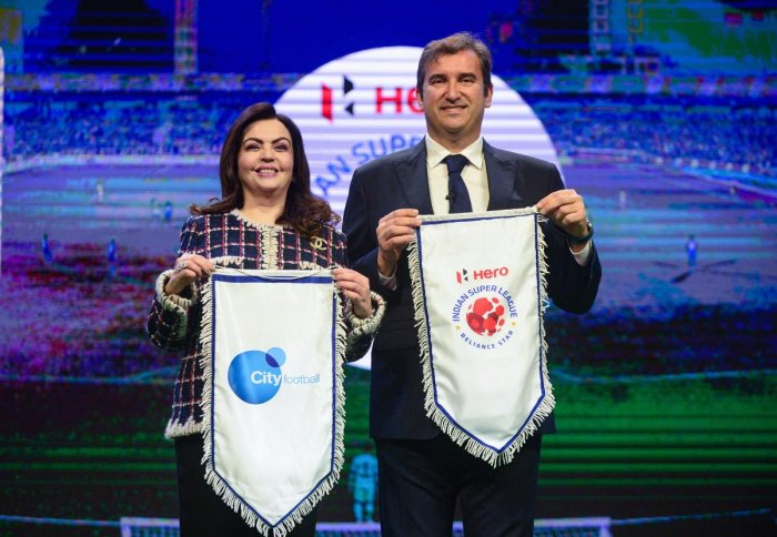 Football Sports Development Limited (FSDL) chairperson Nita Ambani and City Football Group CEO Ferran Soriano in Mumbai on Thursday. PTI