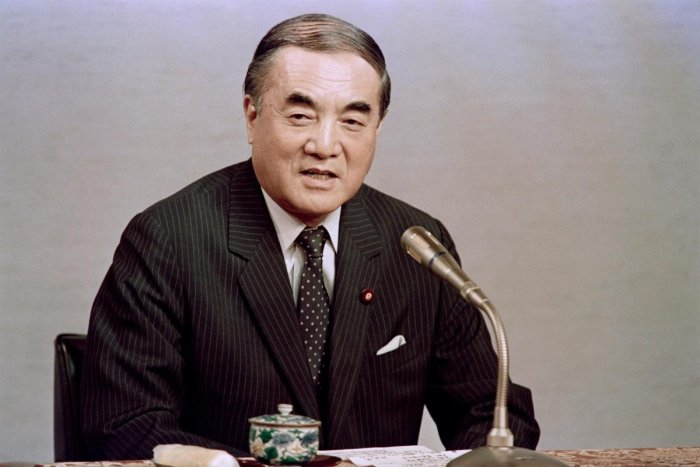 This file photo taken on September 30, 1987 shows then-Japanese prime minister Yasuhiro Nakasone giving what is believed to be his last televised press conference at his official residence in Tokyo. - Nakasone, an ardent conservative who worked to forge a stronger military alliance with the United States, has died at the age of 101, local media said on November 29, 2019. (AFP Photo)