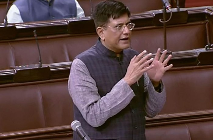 Union Minister of Commerce and Industry & Railways Piyush Goyal speaks in the Rajya Sabha during the ongoing Winter Session of Parliament, in New Delhi, Friday, Nov. 29, 2019. (PTI Photo)
