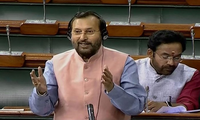 Union Minister Prakash Javadekar speaks in the Rajya Sabha during the ongoing Winter Session of Parliament. (PTI Photo)